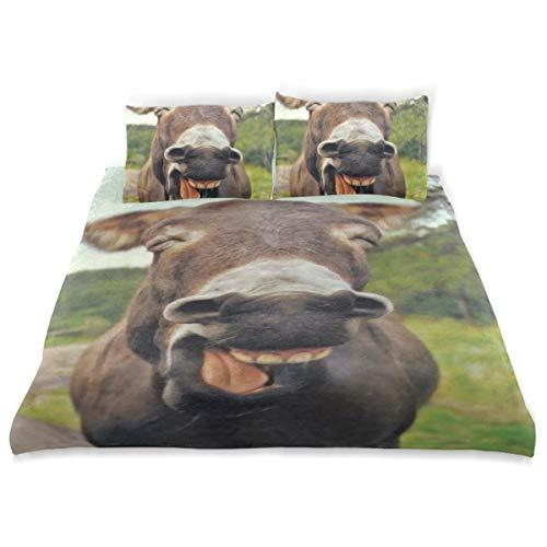 Vipsa Bettwäsche Set Esel Muster 3-teilig 100% Baumwolle mit Reißverschluss Bio-Modern Comforter Set Full/Queen