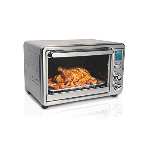 Hamilton Beach 31190C Digital Display Countertop Convection Toaster Oven with Rotisserie, Large 6-Slice, Stainless Steel (Renewed)
