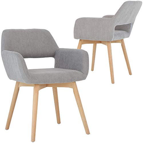Five Stars Furniture Modern Design Fabric Accent Chair Dining Chair W/Solid Wood Leg Living Room (Grey) Set of 2