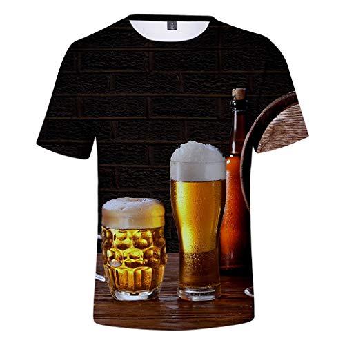 VANMO Herren Top,Oktoberfest Kleidung 2020 Neu Herren Sommer Bier Festival 3D-Druck Oansatz Kurzarm Bluse Tops Einfach Einfarbig Atmungsaktiv Plus T-Shirt Langlebig