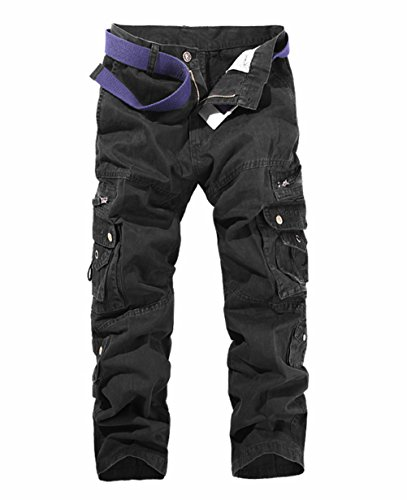 LANBAOSI Hommes Pantalon en Coton Armée Cargo Pantalon Camouflage Camo 48 (taille fabricant 38) Noir