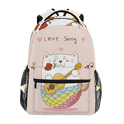 Katze Meerjungfrau Gitarre Liebeslied Studentenrucksack Kinderrucksack Büchertasche Schülerrucksack Laptop Rucksäcke für die Reise Teen Mädchen Jungs