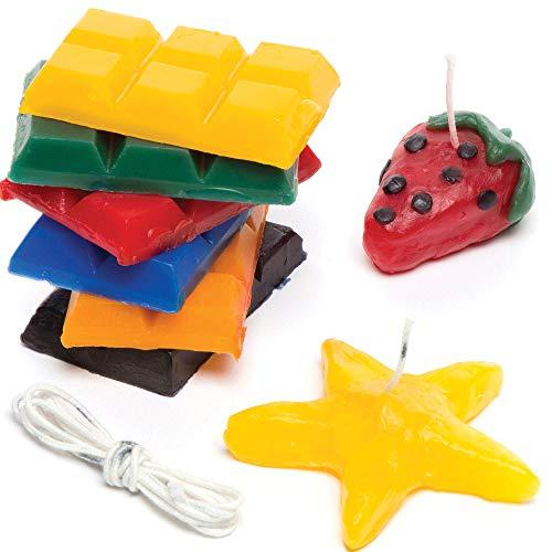 Baker Ross Kit para crear velas, 6 bloques de cera de colores (240 g) y mecha para que los niños diseñen y creen (por kit).
