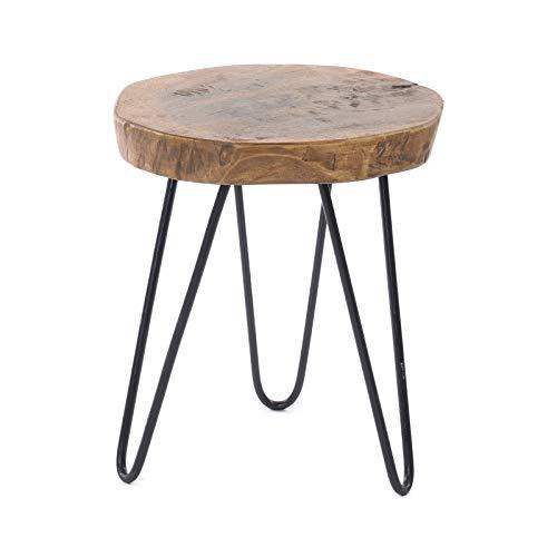DESIGN DELIGHTS BEISTELLTISCH BAUMSCHEIBE | Tamarindenholz, Metall, Ø 34 cm, H 54 cm | Couchtisch, Blumentisch, Telefontisch aus Holz