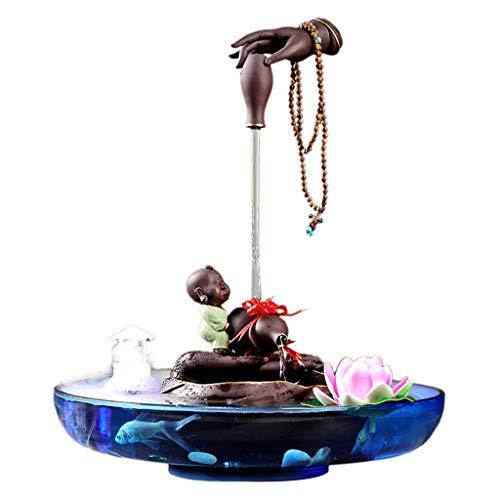 Fuente de interior Zen fuente de escritorio mágico 2 Capa Cascada fuente tablero del agua con nebulizador cubierta pequeña relajación Cascada función de escritorio Decoración Fuente interior