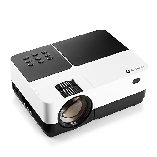 Video Projector, Houzetek 2500 Lumens Portable LCD Multimedia Home Theater Video Projector with Reduced-Noise Fan, Support 1080p HDMI USB SD Card VGA AV for Laptop Smartphone TV Games
