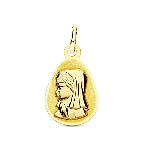 Médaille pendentif 9k or teardrop 17mm Virgen Niña. [AB3225GR] - personnalisable - ENREGISTREMENT inclus dans le prix