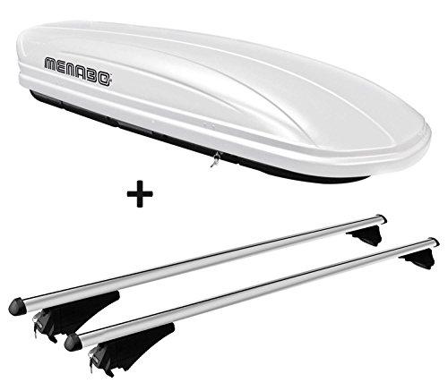 VDP Dachbox weiß MAA 460W Auto Dachkoffer 460 Liter abschließbar + Alu-Relingträger Dachgepäckträger aufliegende Reling im Set kompatibel mit BMW X3 F25 ab 10