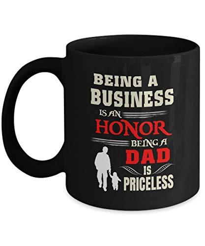 N\A Taza de papá Americano Bonitos y robustos Regalos de papá Americano ser un Negocio es un Honor ser papá no Tiene Precio cerámica Negra