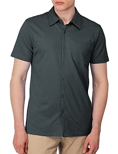 H2H Men's Casual Slim Fit Short Sleeve Jersey Button Down Shirt Darkgray US XL/Asia 2XL (CMTSTS044)
