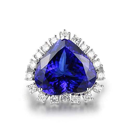 ANAZOZ FINERING 18k Gold Damen-Ring Echt Tansanit 4.13 Karat Diamant Trauringe Eheringe Hochzeit Verlobung für Frauen Ringgr. 46 (14.6) Ringschmuck