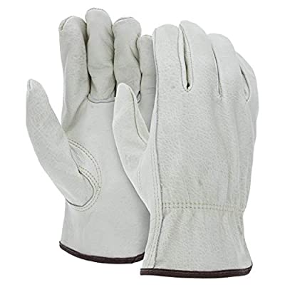 Heavy Duty Durable Cowhide Leather Work Gloves I Driver Gloves for Truck Driving, Warehouse, Gardening, Farming I Ideal use for Construction, Industrial & Personal Use (12, Small)