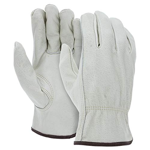 12 Pairs Heavy Duty Durable Cowhide Leather Work Gloves I Driver Gloves for Truck Driving, Warehouse, Gardening, Farming I Ideal use for Construction, Industrial & Personal Use (Medium - 12packs)