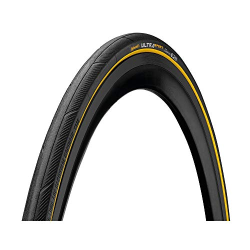 Continental Cubierta Carretera Ultra Sport III Negro-Amarillo-Medidas: 700 x 25 Neumáticos para Bicicleta, Adultos Unisex, Talla Única