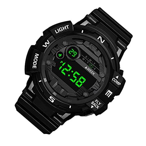 UKCOCO Reloj Digital para Hombre Reloj Deportivo Luminoso Que Brilla en La Oscuridad Reloj de Pulsera con Pantalla LED Cronómetro Electrónico Impermeable para Niño Padre Y Estudiante