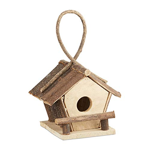 Relaxdays Vogelhaus mit Aufhängung, kleines Vogelhäuschen aus unbehandeltem Holz, handgefertigtes Dekohaus, natur