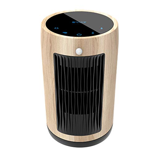 Electric Space Heater 1500W Portable Smart control,Touch panel, PIR Motion Sensor, Function 3 Modes with Overheat & Tip-over Shut off ,wood grain housing (yellow) Heater Portable Space