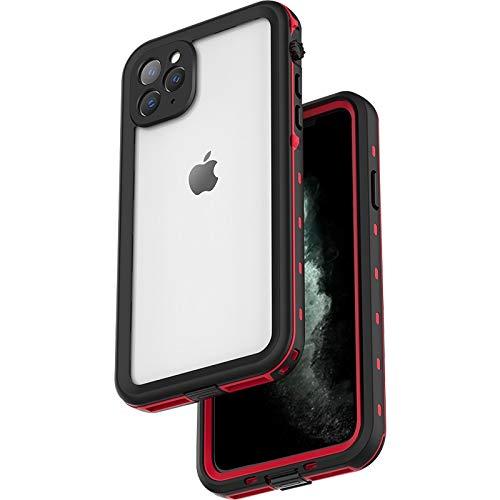 iPhone 11 Pro ケース ハード ポリカーボネート 耐衝撃 落下保護 米軍MIL規格 完全防水 防塵 IP68認証取得 ストラップ付き 液晶保護フィルム一体型 クリア 透明 軽量 薄型 ブランド 正規品 (レッド)