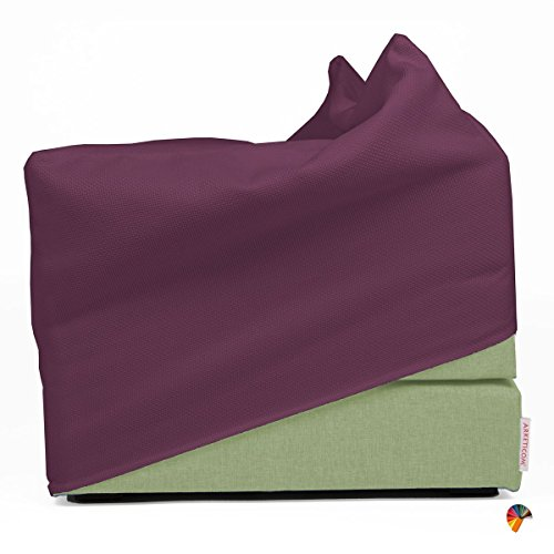 Arketicom Italian Faltmatratze TOUF, The Bed That Becomes a Pouf,Light Green Color Fabric Base and External Cover Purple 80x63x45 cm Artisans Italian Product 100% Hand Made