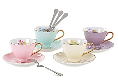 Jusalpha Porcelain Coffee Bar Espresso SMALL Cups and Saucers Set, 3-Ounce FD-TCS02-4COLOR (3 OZ)