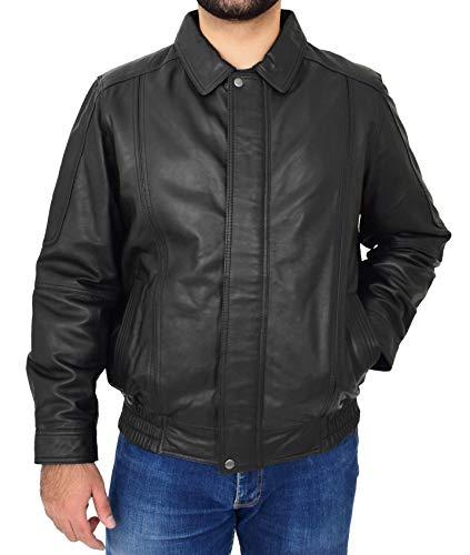 A1 FASHION GOODS Original Schwarz Leder Blouson Jacke Für Herren Klassisch Bomber Regelmäßige Passform Mantel Albert (XXL - EU 54)