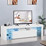 UINKISY White TV Stand, Modern Colors LED TV Stand w/Storage & 1 Center Drawers, High Gloss TV Stand for Up to 55 Inch TV Living Room Furniture (US Fast Shipped)