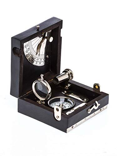 aubaho Kompass Holzbox Wasserwaage Lupe Fernrohr Schifffahrt Maritim Antikstil