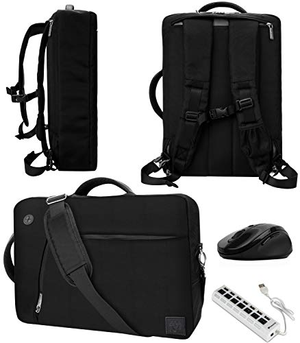 Black 10' to 12-inch Convertible Laptop Bag with Mouse, USB Hub for Asus VivoBook, Chromebook Flip, Transformer Mini