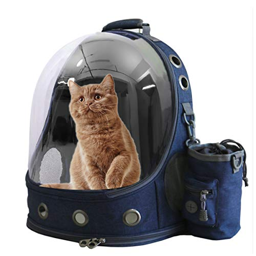 Pet Carriers Backpacks Bubble Bag, Premium Space Capsule Cat Dog Carrier Backpack Travel Bag kitten doggy Back pack for Traveling Hiking Camping outdoor use, Award Pet Treat Pouch, Blue