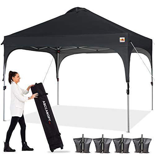 ABCCANOPY Canopy Tent 10x10 Pop Up Canopy Outdoor Canopies Super Comapct Canopy Portable Tent Popup Beach Canopy Shade Canopy Tent with Wheeled Carry Bag Bonus 4xWeight Bags,4xRopes&4xStakes, Black