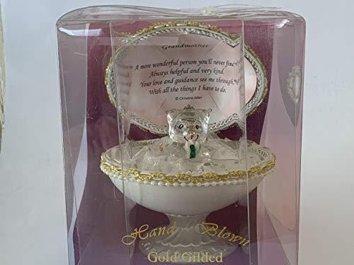 Oso de peluche de cristal en huevo regalo madre, nieta, abuela, hija, feliz cumpleaños, mi verdadero amor, boda, amigo especial, alguien especial, hermana, corazón de oro, caja de regalo (abuela)