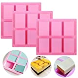Silicone Soap Molds Set of 3, 6 Cavities DIY Handmade Soap Moulds - Cake Pan Molds for Baking, Biscuit Chocolate Mold, Silicone Soap Bar Mold for Homemade Craft , Ice Cube Tray, Pink