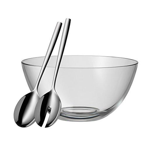 WMF Taverno Salatschüssel Set 3-teilig, Salatbesteck 25 cm mit Salatschale, runde Schale Ø 23,5 cm, Glas, Cromargan Edelstahl poliert, spülmaschinengeeignet