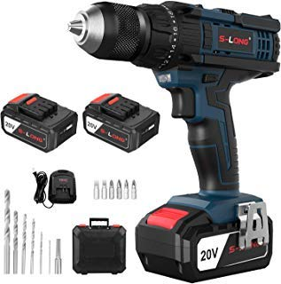 """Cordless Drill Driver Kit,Cordless Drill with 2 Batteries and Fast Charger,20V Max Impact Hammer Drill Set,1/2"""" All-Metal Self-lock Chuck,20+3 Torque Setting,500 In-lbs Torque,Variable Speed by S-LONG"""