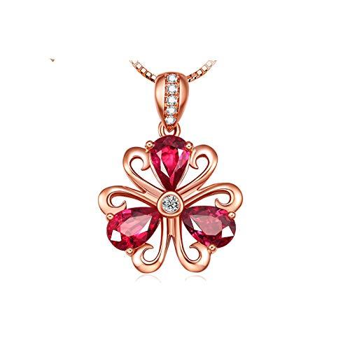Aartoil 0.8cttw Rubin Halskette in 18K Roségold Filigree Blume Anhänger für Damen (Preis nur für Anhänger)