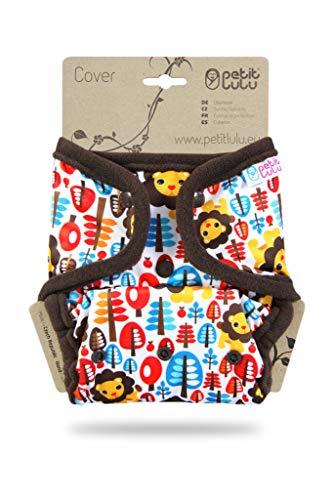 Petit Lulu Größe 2 PUL Überhose (4-15 kg) | Druckknöpfe | One Size Windelüberhose | Baby Windelhose | Waschbar & Wasserdicht | Stoffwindeln | Hergestellt in EU (Dschungelkönig)