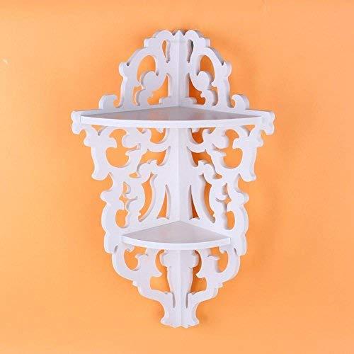Zerone - Mensola angolare intagliata a 2 ripiani, per libri e cosmetici, colore: bianco