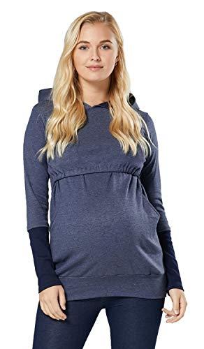 Happy Mama. Damen Kapuzenpullover Stillzeit Zweilagiges. Kontrastdetails. 137p (Jeans Melange & Marine, 44, 2XL)