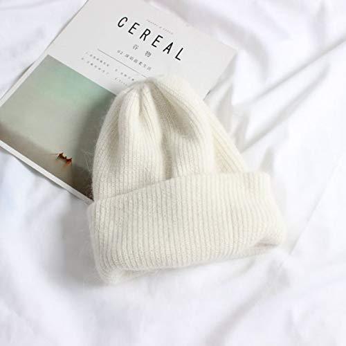 Sombrero de Invierno de Punto para Mujer, Gorro cálido para niñas, Gorro sólido para Mujer, Gorros para Mujer, Gorros Suaves, Gorros-White