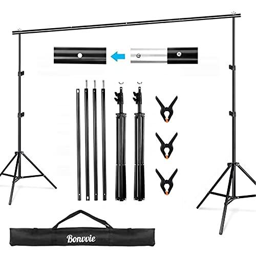 Bonvvie Hintergrund Ständer 2*3m, Verstellbares Fotostudio-Kameratuch-Stützsystem-Kit für Porträt Produkt Fotografie, Live-Streaming, Party, Hochzeit