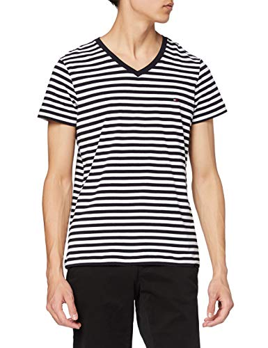 Tommy Hilfiger Stretch Slim Fit Vneck Tee T- T-shirt de sport, Bleu, Small (Taille fabricant:):) Homme Homme Bleu (DESERT SKY/WHITE 0A4)Small Homme Bleu (DESERT SKY/WHITE 0A4) Small