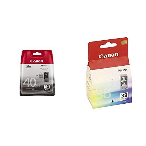 Canon PG-40 Cartucho de tinta original Negro para Impresora de Inyeccion de tinta Pixma + CL-38 Cartucho de tinta original Tricolor para Impresora de Inyeccion de tinta Pixma