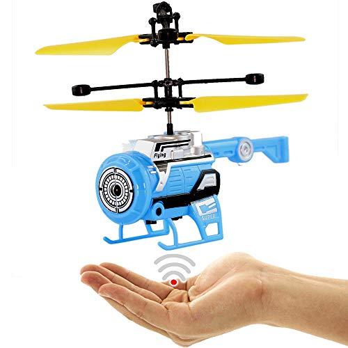 FUN Helicopter (Blau),Fliegender Space Hubschrauber-Neueste Version 2019!Einfach zu Steuern per Handbewegung!!Ein super Geschenk für alle Technik Freaks!-Helicopter,Mini Drohne