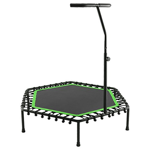 ANCHEER Foldable Mini Trampoline,Fitness Rebounder Trampoline with Adjustable Foam Handle,Outdoor/Indoor Trampoline Bungee Rebounder Jumping Cardio Trainer Workout for Adults or Kids. (green)