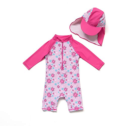 『BONVERANO ベビー 水着 UPF50+ UVカット 女の子 長袖 ワンピース ラッシュガード キャップ付き (Rosy, 74-80cm)』のトップ画像