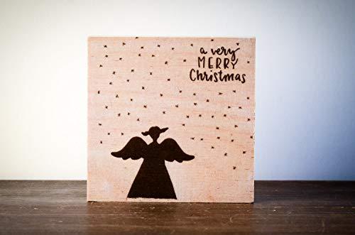 Engel Holzschild Weihnachtsdeko Weihnachten modern minimalistisch Merry Christmas Geschenk Wichteln Weihnachtsdekoration Shabby-Stil gifts gift for her handmade