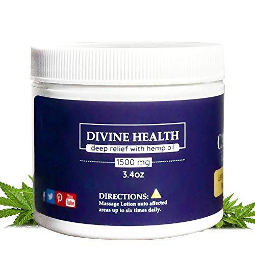 Hemp Pain Relief Cream- Divine Health Deep Relief with Hemp Oil 1500mg- Hemp Cream for Pain- Natural Pain Relief, Arthritis Pain Relief, Muscle Pain Relief, Joint Pain Relief