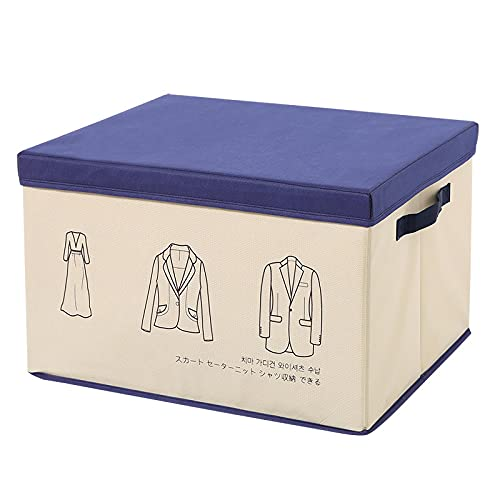 MRBJC Caja de almacenamiento plegable de tela de lino para ropa de cama, cesta de almacenamiento con tapa, 50 x 40 x 30 cm