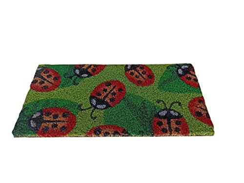 Felpudo de la casa Minimal, 25 x 50 cm, de fibra de coco, estampado, alfombra de secado con parte trasera antideslizante de PVC antideslizante, pequeño para escaleras, dormitorio, entrada (mariquitas)