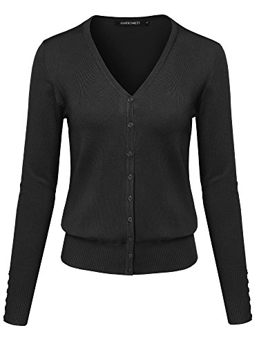 Basic Solid V-Neck Button Closure Long Sleeves Sweater Cardigan Black L